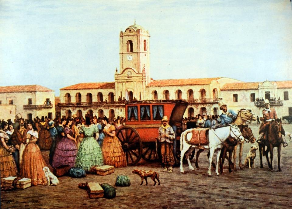 La diligencia frente al Cabildo en la Plaza de la Victoria de Carnacini
