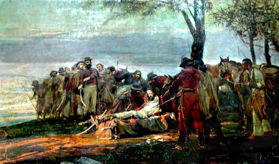 La muerte de Güemes de Antonio Alice (1886-1943), 1910, óleo sobre tela. Cuadro que se encuentra en el recinto de sesiones del Palacio de la Legislatura de Salta.