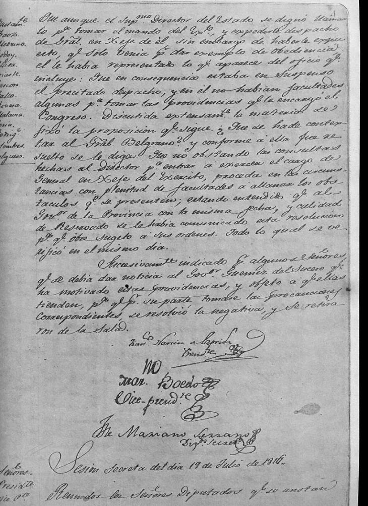Acta Secreta 19-7-1816-nro. 1